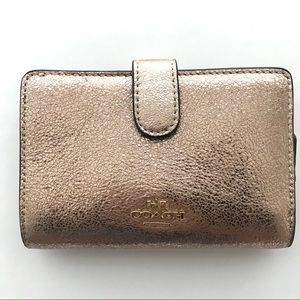 Coach Rose Gold Crinkle Leather Wallet F39144 $185